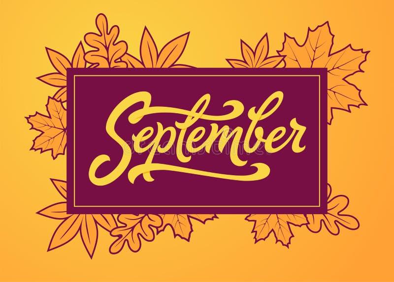 September-Bürstenbeschriftung im Rechteckrahmen Vektortypographie mit Herbstlaub Bürstenbeschriftung für Fahne, Plakat vektor abbildung