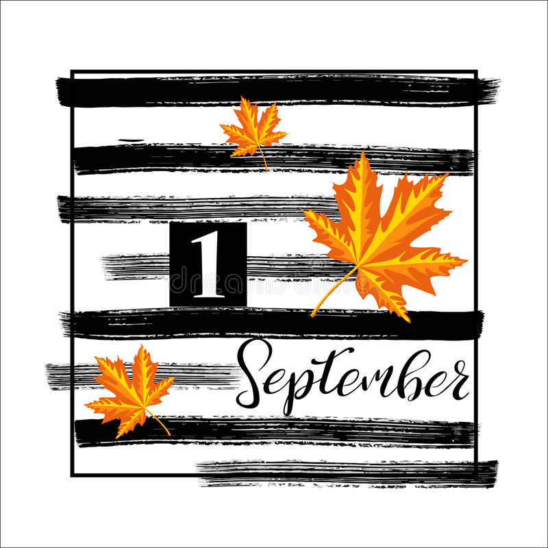1 September.Banner with autumn leaves and with ink hand painted stripes. royalty free illustration
