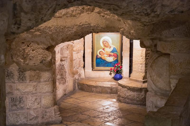 September 15 2019. Bethlehem, Palestine. Chapel of the Milk Grotto also called Grotto of Our Lady or Milk Grotto. Icon of the. Bethlehem, Palestine. Chapel of stock photography