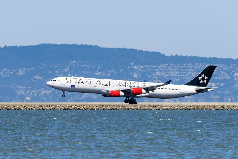 September 1, 2019 Burlingame / CA / USA - SAS aircraft with Star Alliance livery landing at San Francisco International Airport stock images