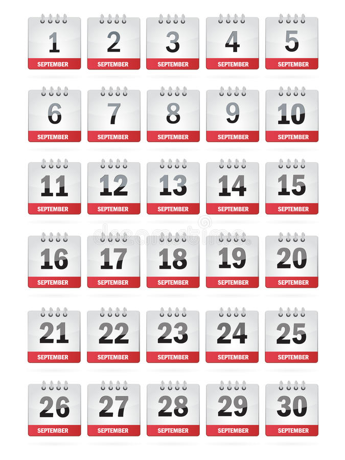 Download September Calendar Icons stock illustration. Image of happy - 27069781