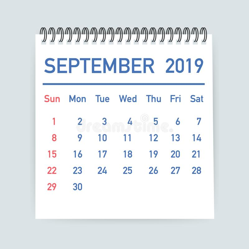 September 2019 Calendar Leaf. Calendar 2019 in flat style. A5 size. Vector illustration. stock illustration