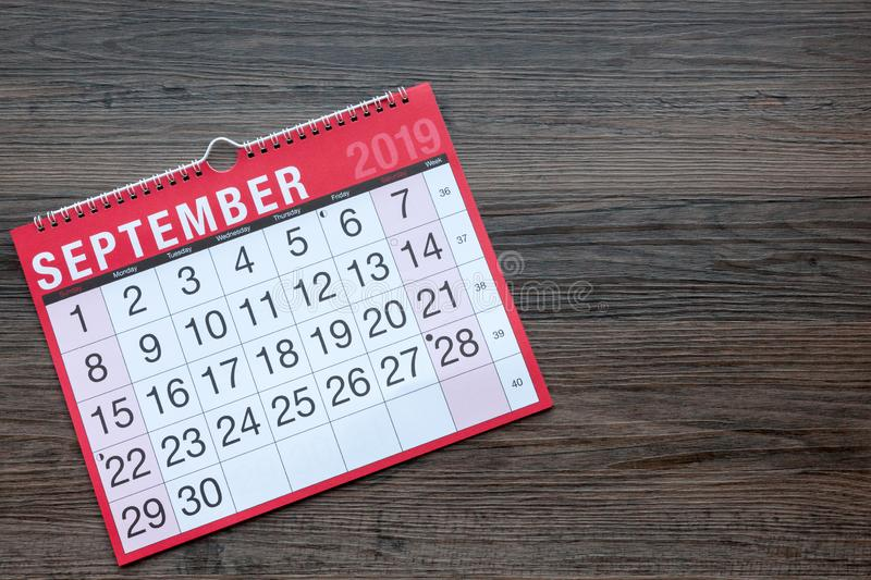 September 2019 Calendar Page. Calendar page showing the month of September 2019 with copy space stock photos