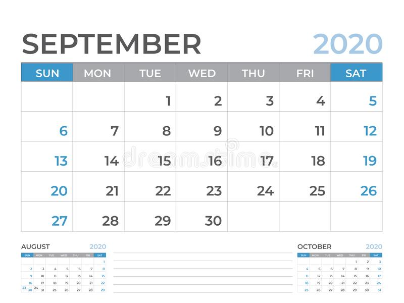 September 2020 Calendar template, Desk calendar layout  Size 8 x 6 inch, planner design, week starts on sunday, stationery design. Vector Eps10 stock illustration