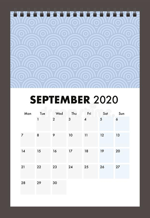 September 2020 calendar with wire band stock image