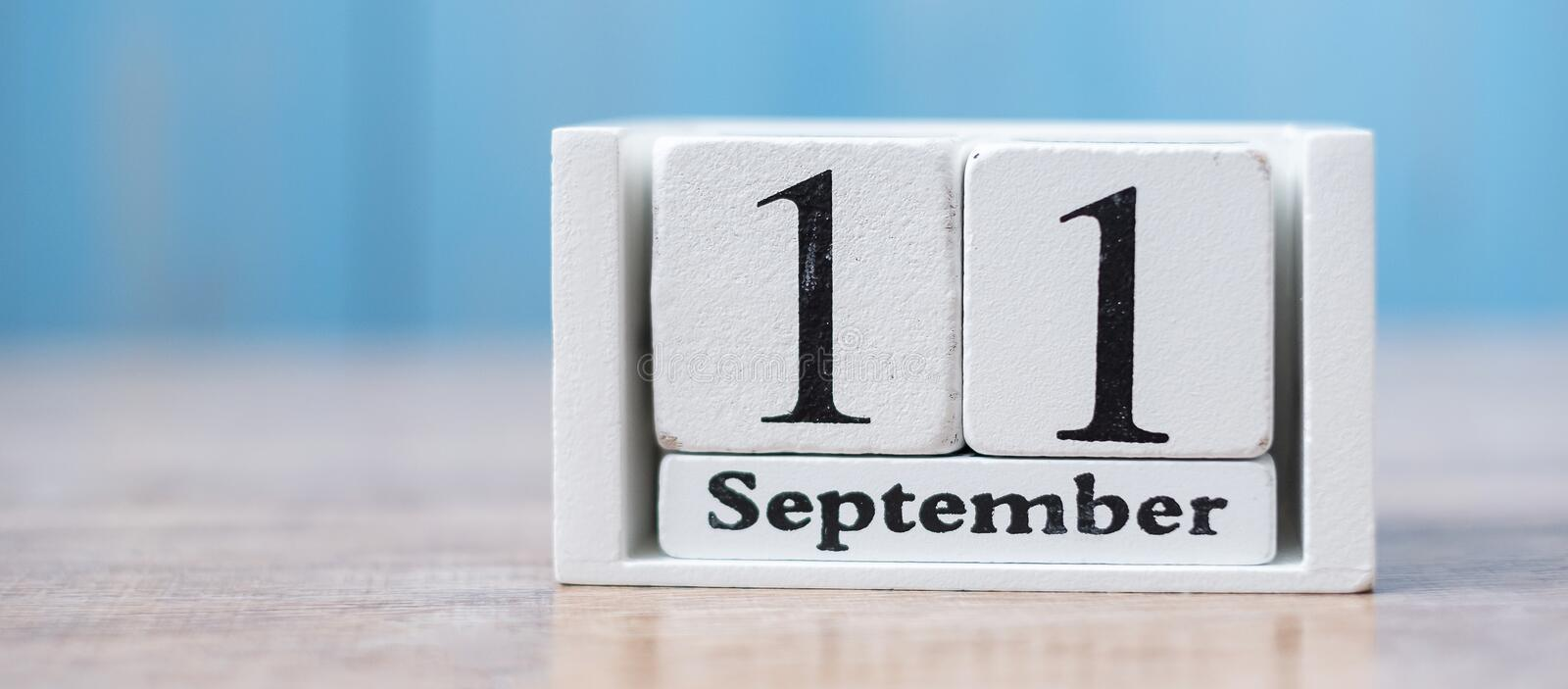 11 September calendar 9/11 on wood background. copy space for text. Patriot Day and Memorial concept.  stock photography