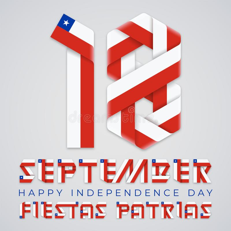 September 18, Chile Independence Day congratulatory design with Chilean flag elements. Vector illustration stock illustration