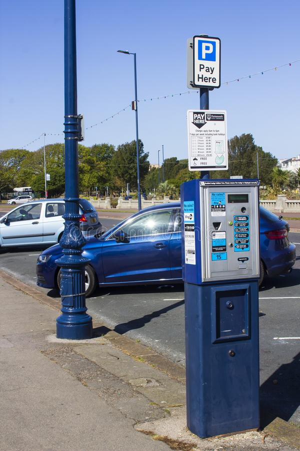 A Portsmouth City Council street parking ticket machine. 18 September 2019 A City Council street parking ticket machine located on the South Parade outside the stock photo