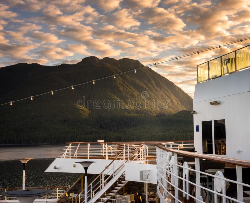September 17, 2018 - Clarence Strait, AK: Early morniing on stern decks of cruise ship The Volendam, near Ketchikan. September 17, 2018 - Clarence Strait, AK stock photography