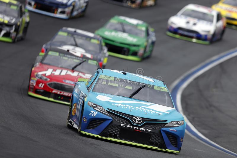 NASCAR: September 30 Bank of America ROVAL 400. September 30, 2018 - Concord, North Carolina, USA: Martin Truex, Jr 78 races though the field off turn 14 at the royalty free stock photo