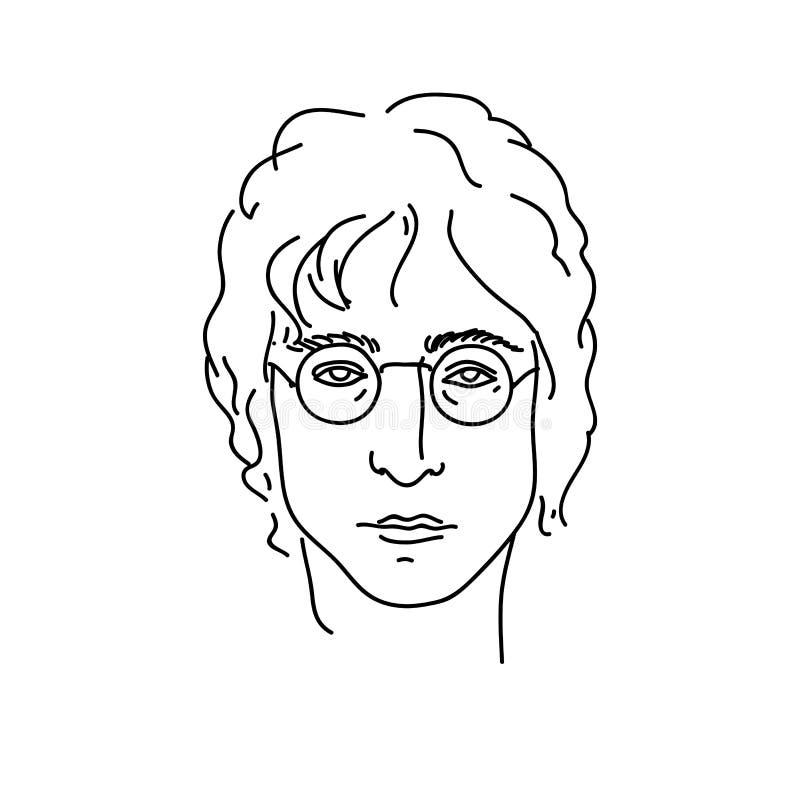 19 september, 2017: Creatief portret van John Lennon, musicus van Beatles De vectorillustratie van de lijnkunst vector illustratie