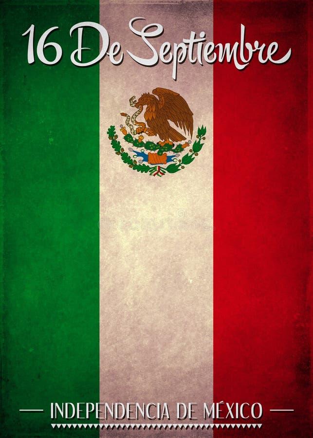 16 september de Mexicaanse Spaanse tekst van de onafhankelijkheidsdag vector illustratie