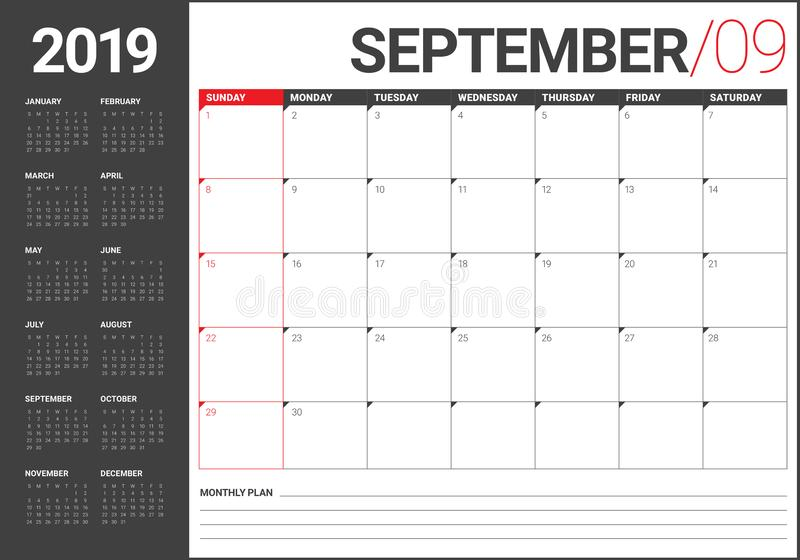 September 2019 desk calendar vector illustration. Simple and clean design stock illustration