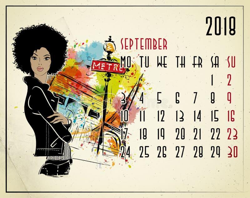 September. 2018 European calendar with fashion girl royalty free illustration
