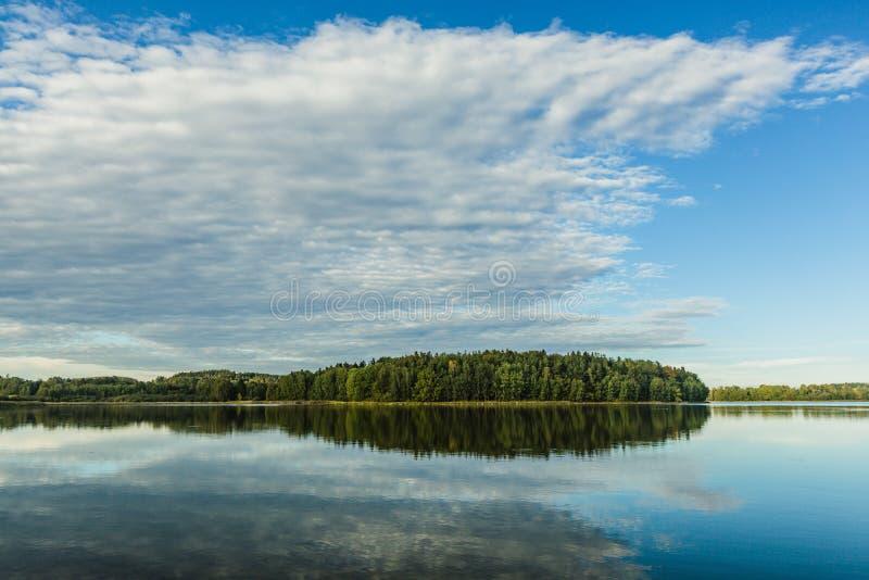 September evening landscape with blue sky royalty free stock image