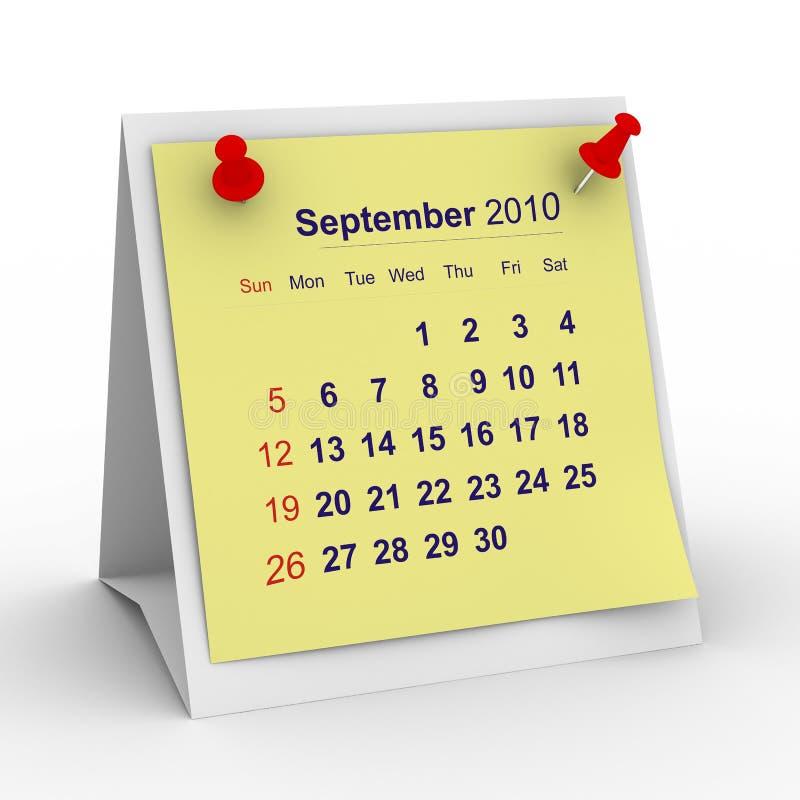 september för 2010 kalender år royaltyfri illustrationer