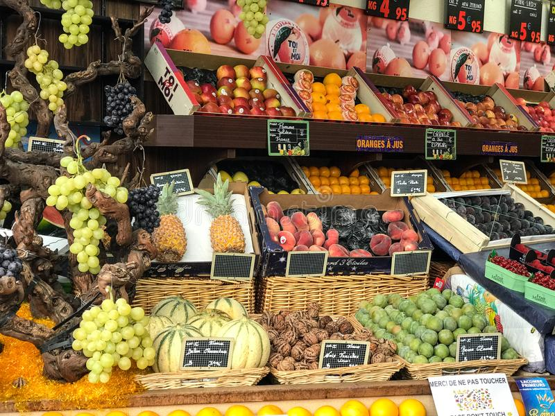 Fruit display outside a Paris market stock photo