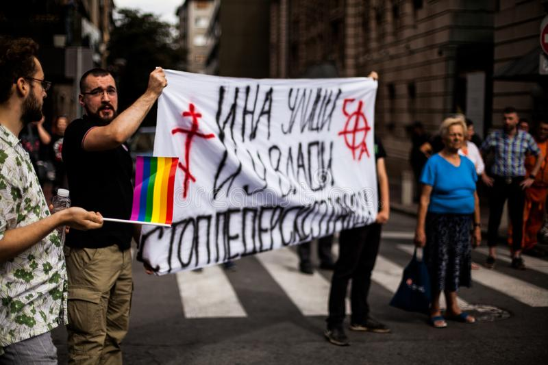 17 September 2017 - Gay Pride Parade in Belgrade Serbia. Opposition for the Gay Pride Parade on the streets. Pride Parade Belgrade is an association of citizens stock images