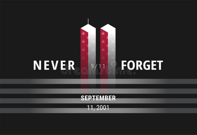 September 11 glömmer aldrig USA 9/11 - den begreppsmässiga bilden för beträffande USA royaltyfri illustrationer