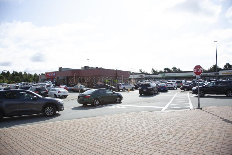 Busy with cars trying to get to Tim Hortons royalty free stock images