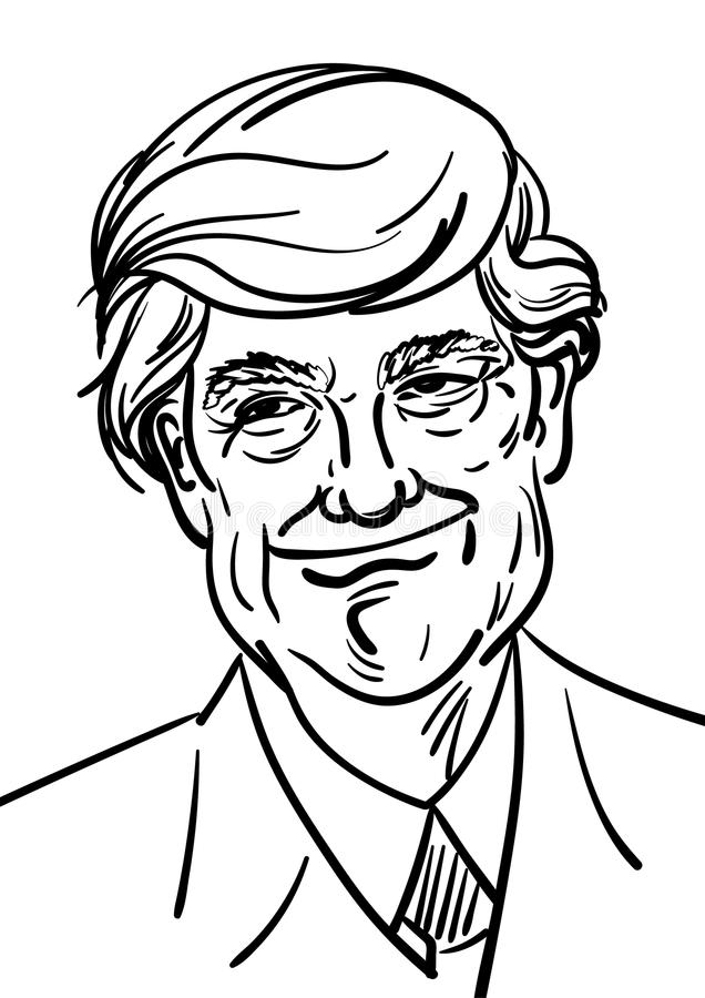 September 06, 2017: Hand drawn portrait of the smilling leader of USA Donald Trump vector illustration