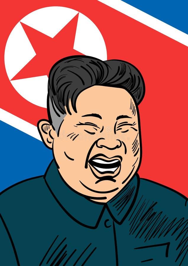 06 september, 2017: Hand getrokken portret van de smilling leider van Noord-Korea Kim Jong-un royalty-vrije illustratie