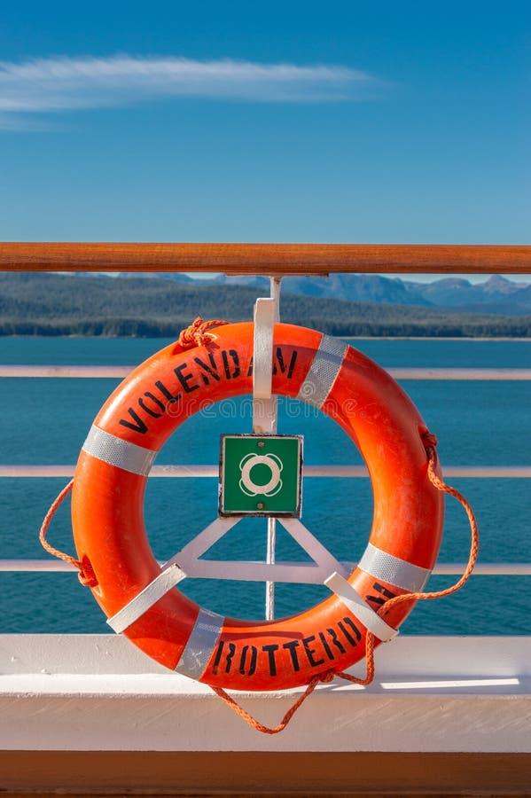 September 14, 2018 - Inside Passage, Alaska: Orange lifering on cruise ship. royalty free stock image