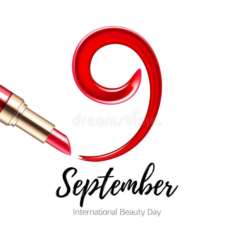9 September - Internationale schoonheidsdag Rode vlek en lippenstift vector illustratie