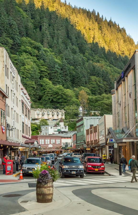 September 14, 2018 - Juneau, Alaska: Traffic on busy downtown Front Street. royalty free stock photos