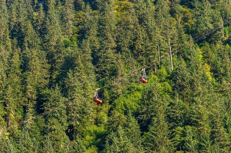 14. September 2018 - Juneau, Alaska: Zwei rote Berg-Robert Tramway-Autos und -bäume stockfoto