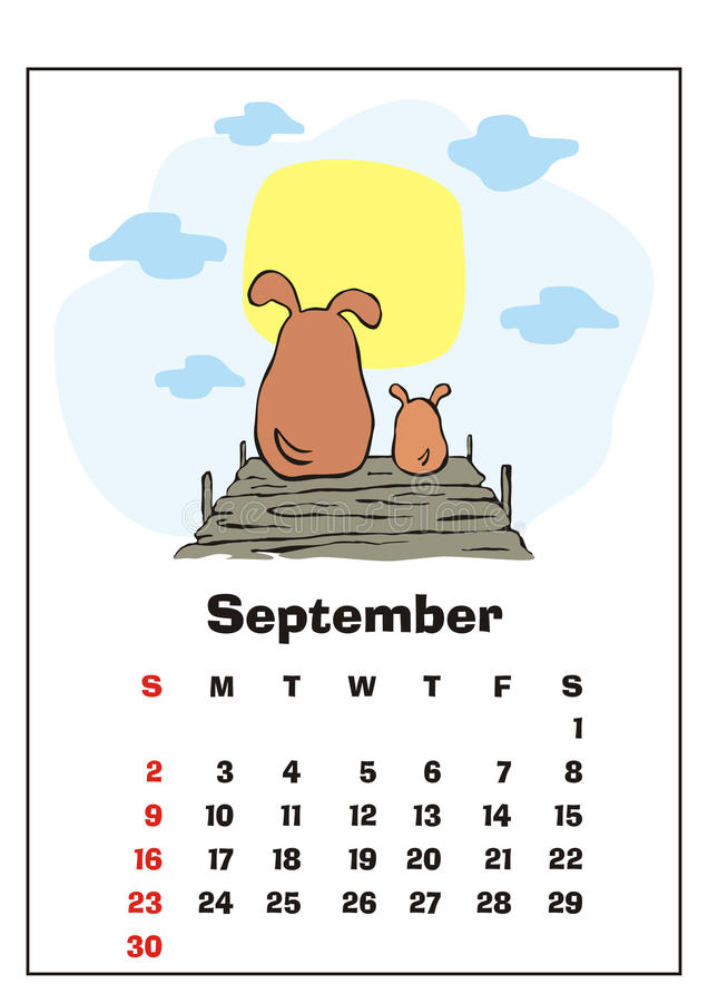 September 2018 kalender vektor illustrationer