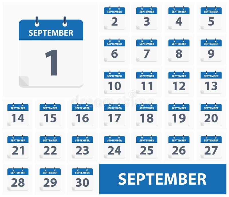 1. September - 30. September - Kalender-Ikonen vektor abbildung