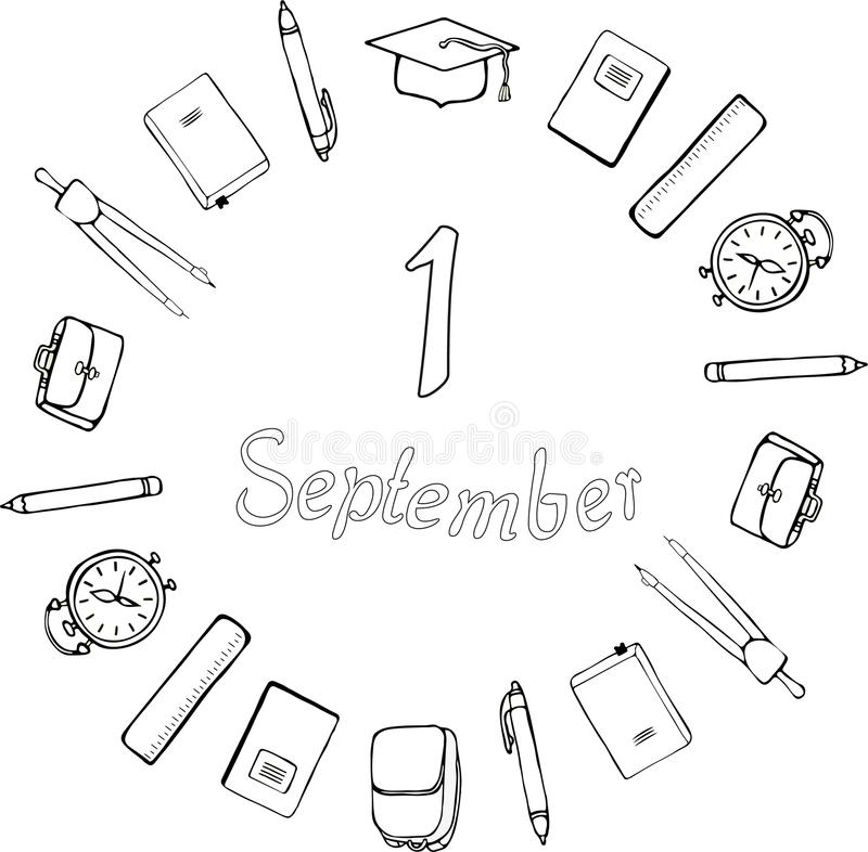 1 September. Logo. Black and white. School supplies, square academic cap, alarm clocks, briefcases and satchels around the inscrip royalty free illustration
