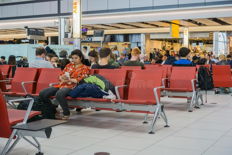 Waiting lounge at Heathrow airport royalty free stock photography