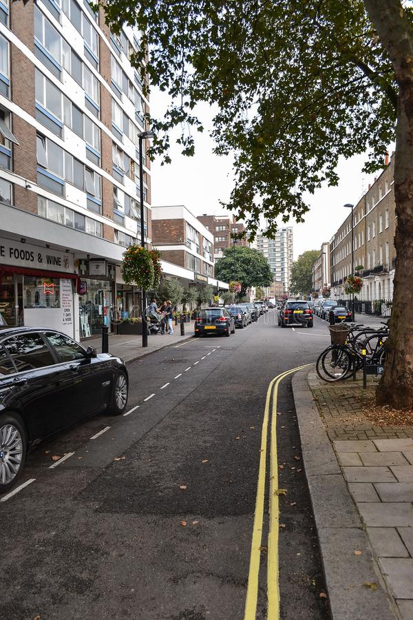 September 19, 2014, London, UK, view of the street with houses w royalty free stock image