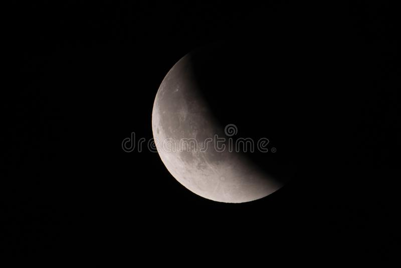 September 2015 lunar eclipse - mid-eclipse moving towards a super blood moon - as seen from Minnesota, USA - September 28th stock photos