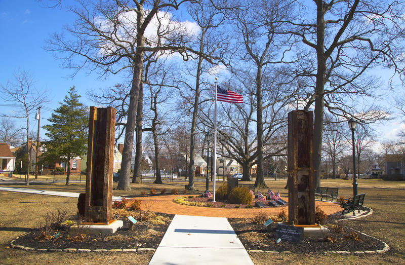 September 11 memorial with columns from World Trade Center site in East Rockway. EAST ROCKAWAY, NEW YORK - MARCH 20: September 11 memorial with columns from stock photo