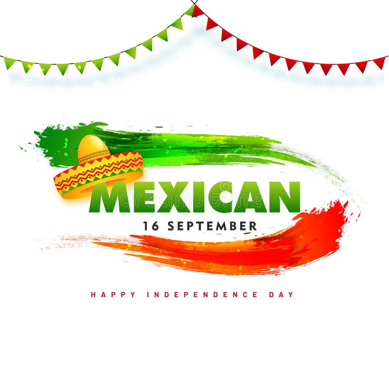 16 September, Mexican Independence Day poster design. 16 September, Mexican Independence Day poster design with sombrero hat, green and red brush stroke color royalty free illustration