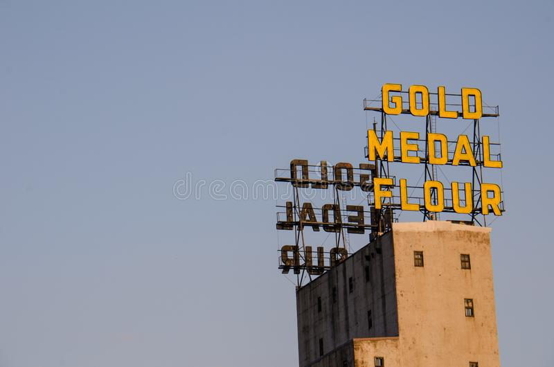 Gold Medal Flour sign in downtown Minneapolis, negative space for copyspace royalty free stock image