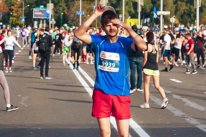 September 15, 2018 Minsk Belarus Half Marathon Minsk 2019 Running in the city royalty free stock photos
