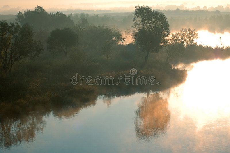 September mist over lake islan royalty free stock image