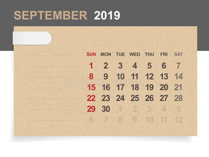 September 2019 - Monatskalender auf Hintergrund des braunen Papiers und des Holzes mit Bereich für Anmerkung vektor abbildung
