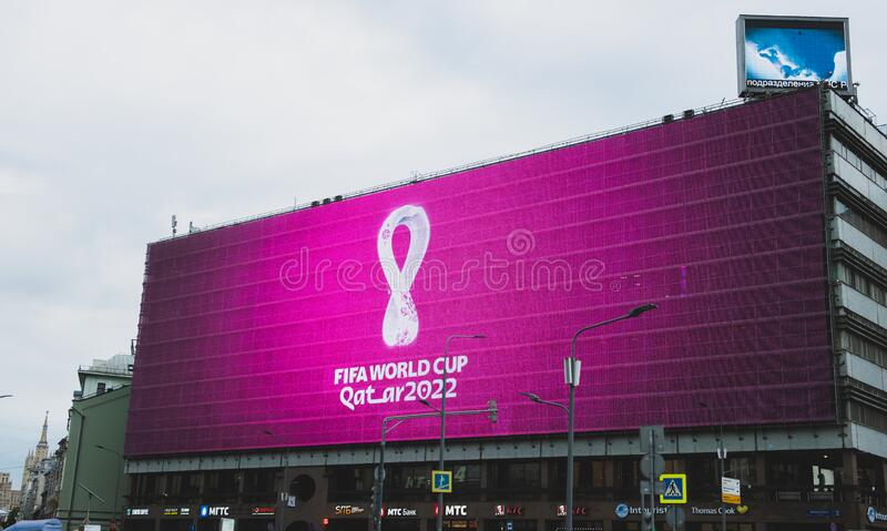 FIFA winter world Cup in Qatar. 4 September 2019, Moscow, Russia. The logo of the FIFA world Cup 2022, which will be held in Qatar, on a giant screen in the city stock photos