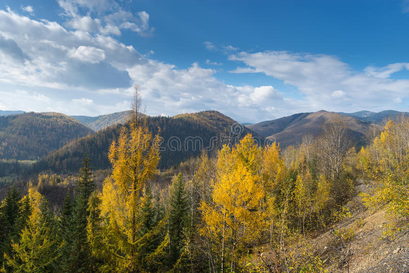 September in the mountains. Autumn in the mountains Miao Chan. Golden September in the mountains royalty free stock photo