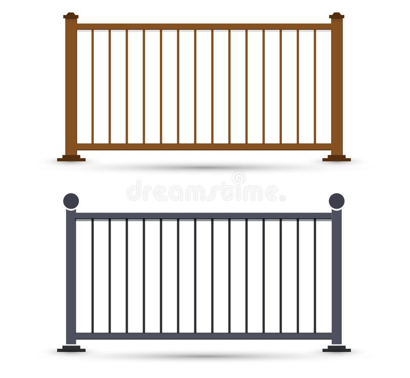 Vector railings illustration. Gates, fences, doors, decorative and safety staircase barrier. Guard for house interior balcony exterior. Simple flat designs royalty free illustration