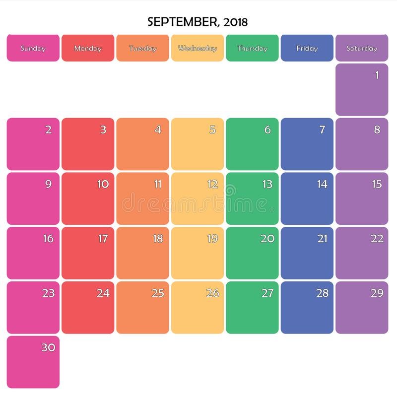 SEPTEMBER 2018 planner big note space color weekdays on white stock illustration