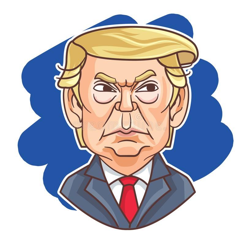 September 2019. President of USA - Donald Trump with angry face expression. Cartoon President Donald Trump caricature royalty free illustration