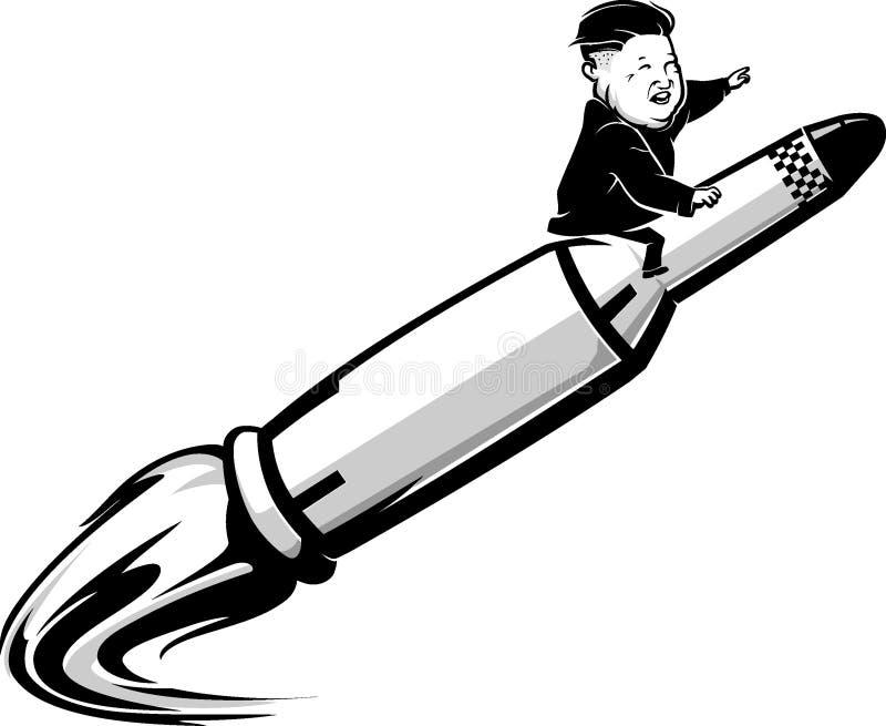 6 september 2017: Redactiekarikatuur van Kim Jun Un Riding een Raket stock illustratie