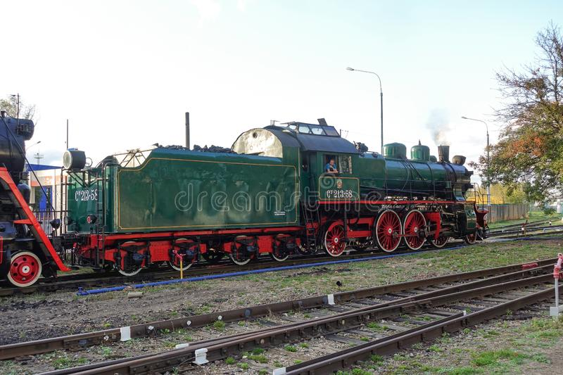 September 13, 2019 Russia, Moscow. - Old steam locomotive at the exhibition of railway transport royalty free stock photo