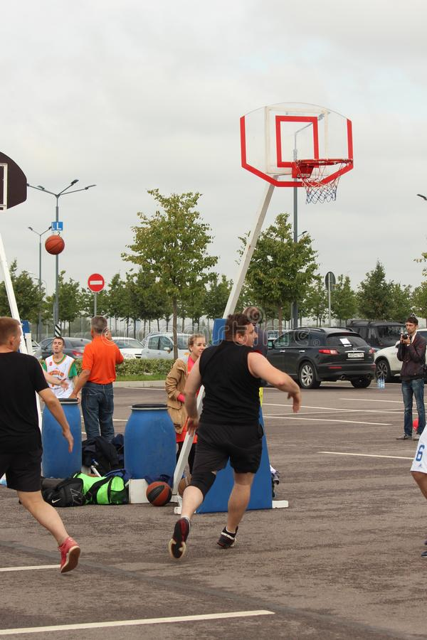 September 9, 2018, Russia, St. Petersburg, street basketball competition royalty free stock images